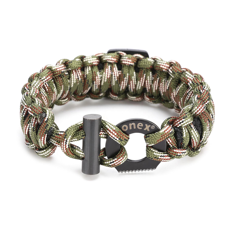 20in 1 Survival Bracelet Outdoor Paracord Flint Fire Starter Scraper Whistle Kit