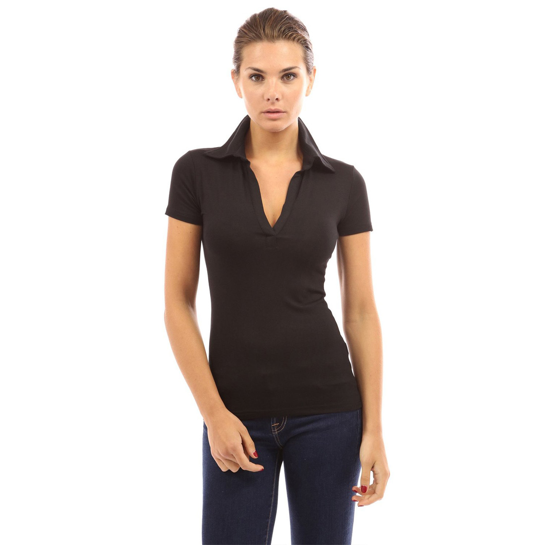 Womens ladies short long sleeve v neck polo shirt casual t for Women s broadcloth shirts