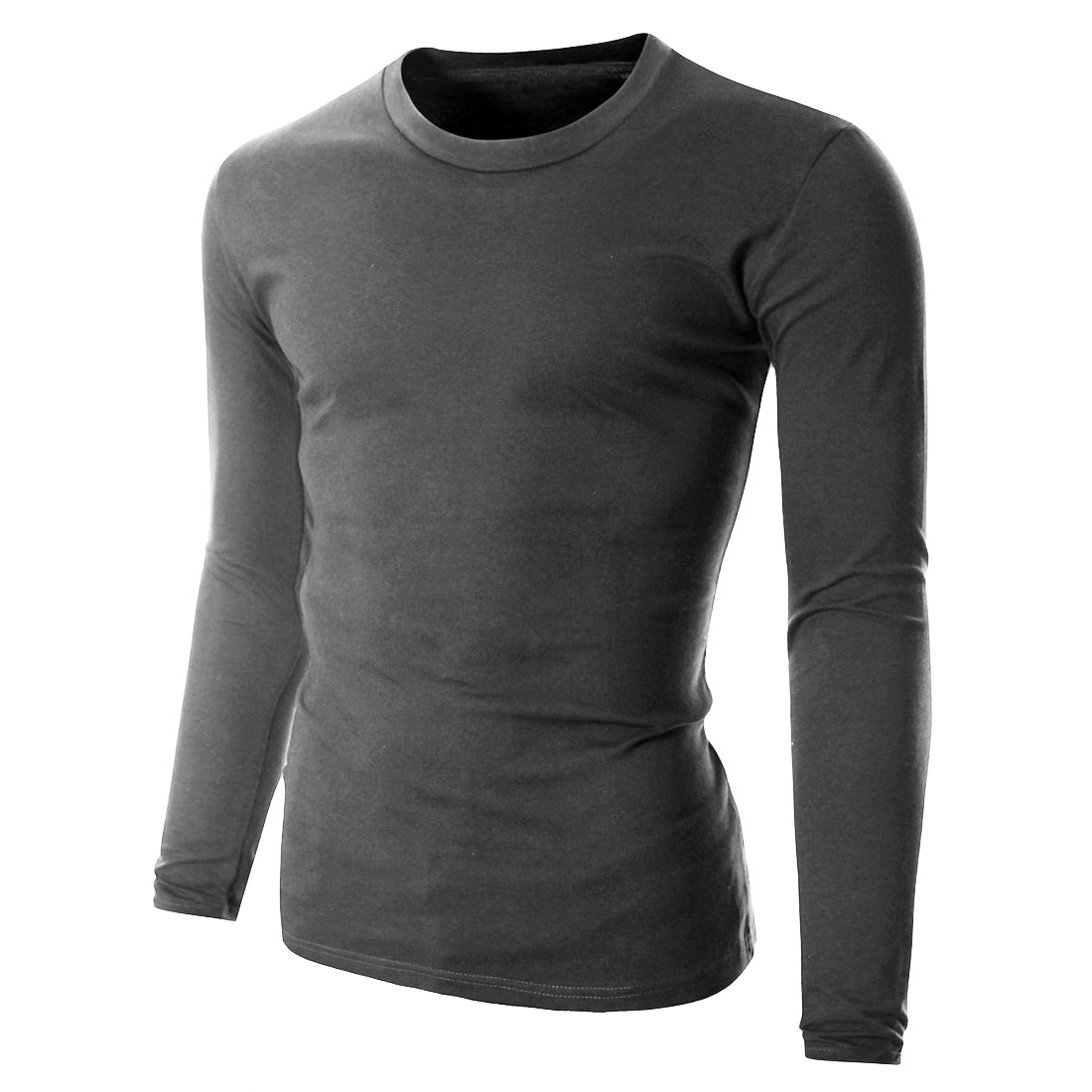 100 cotton mens long sleeve plain t shirt slim fit casual for Best slim fit mens t shirts