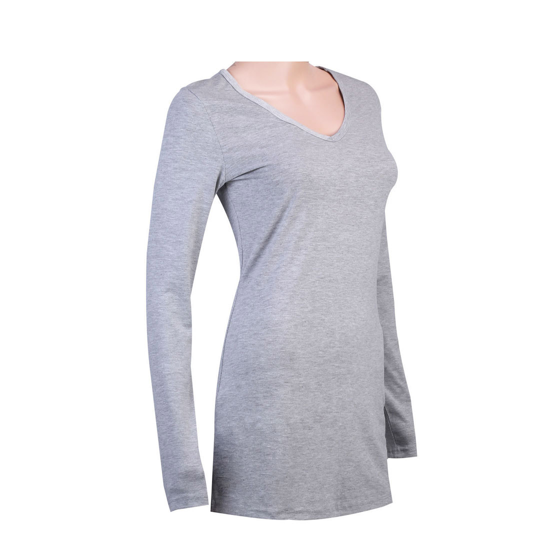 Womens 100 pure cotton long sleeve plain shirts t shirt for Women s 100 cotton long sleeve tee shirts