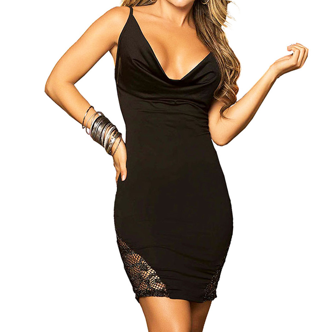 womens ladies cowl neck bodycon short mini dress evening