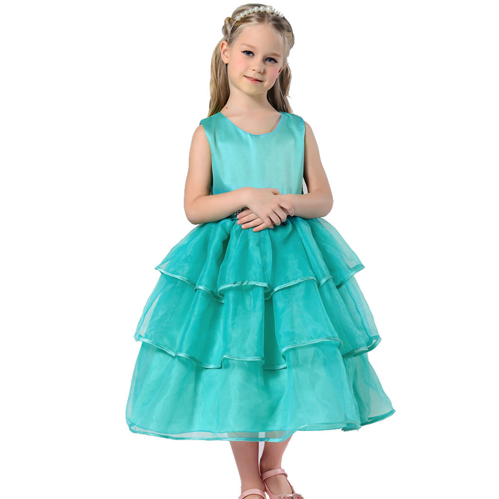 Kids Girls Special Occasion Organza Dress Pearl Waist Prom ...