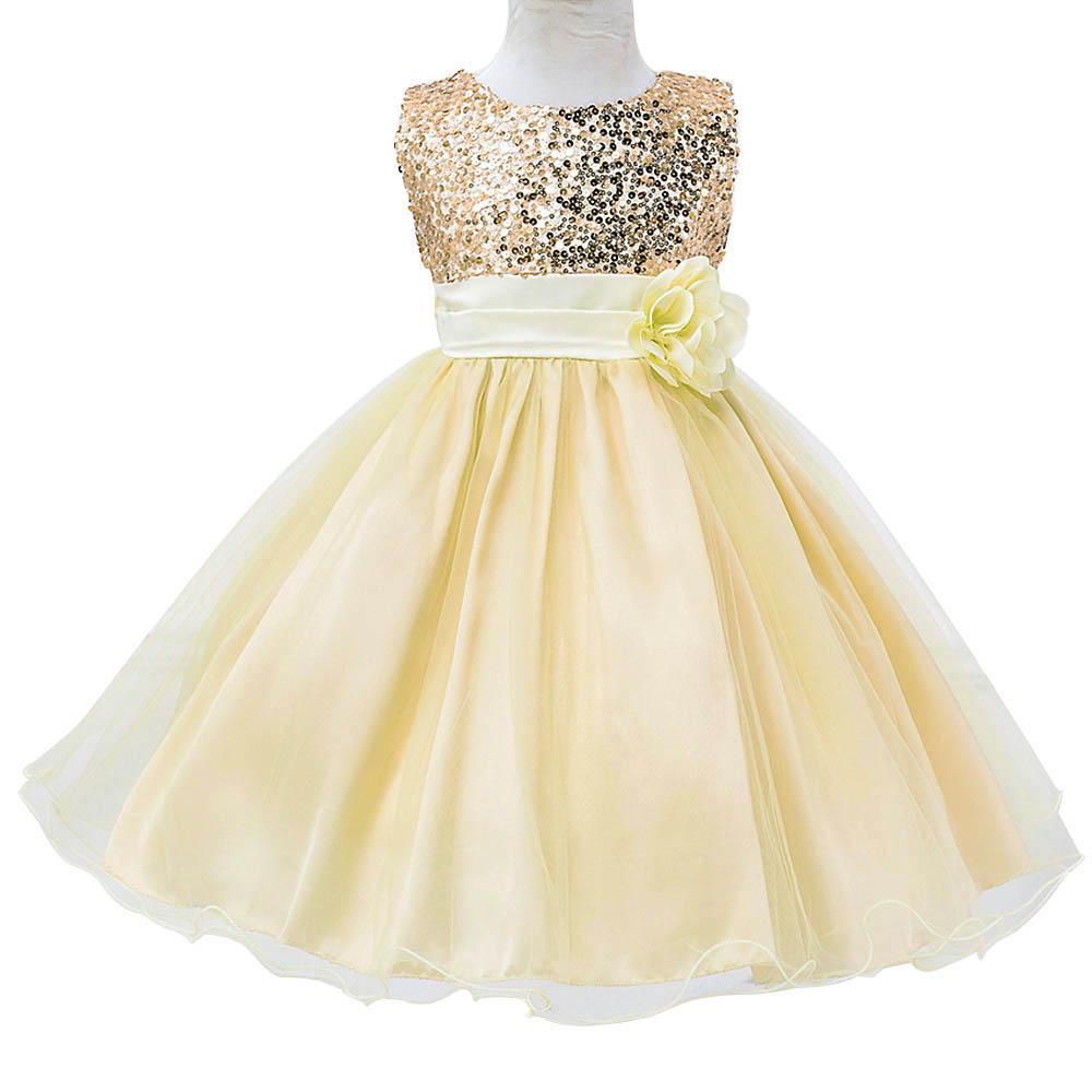 Toddler Baby Girls Sequin Wedding Bridesmaid Dress