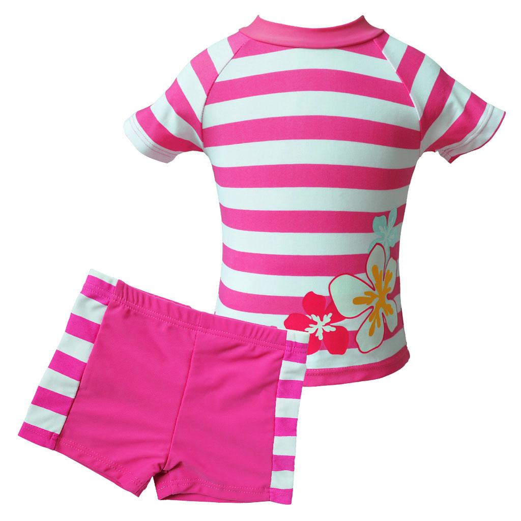 Girls UV 50+ Sun Protection Swimwear Flower Stripe Bathing ...