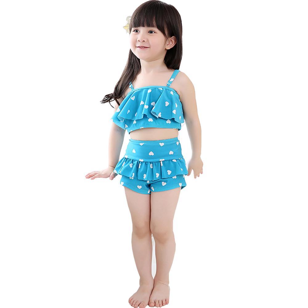 Kids Girl Sling Top   High Waisted Shorts Swimwear Hearts Tankini ...