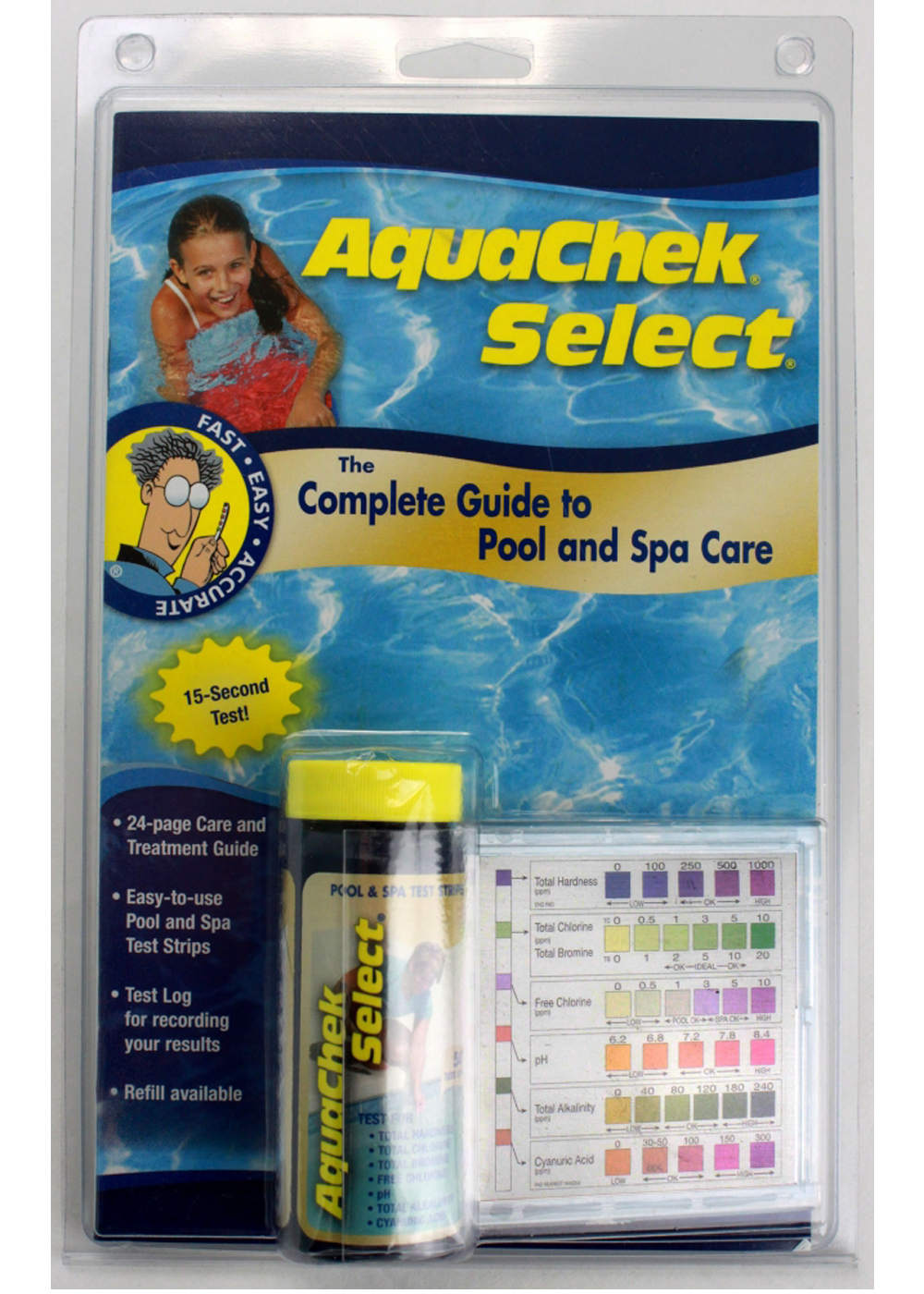 Aquachek 541604a select 7 in 1 swimming pool and spa test strips complete kit ebay for How to read swimming pool test strips