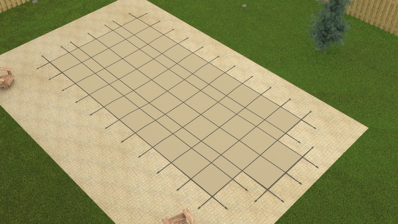 Gli 18 39 X36 39 Rectangle Tan Mesh In Ground Swimming Pool Safety Cover W 4x8 Step Ebay