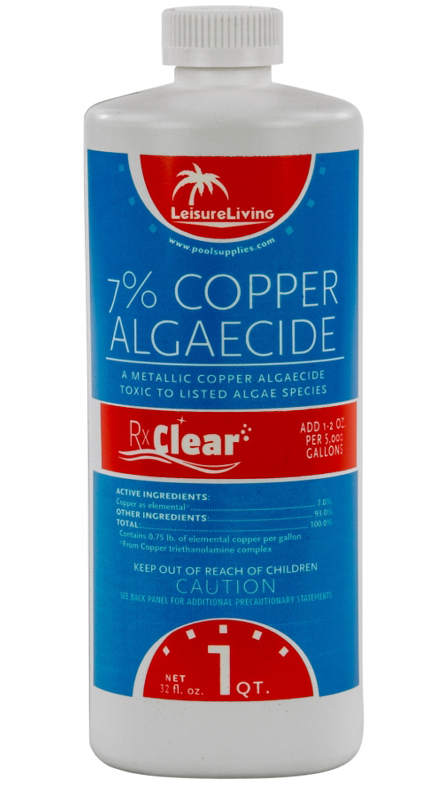 Rx clear swimming pool 7 copper algaecide algae chemical 1 quart bottle ebay Swimming pool algae treatment