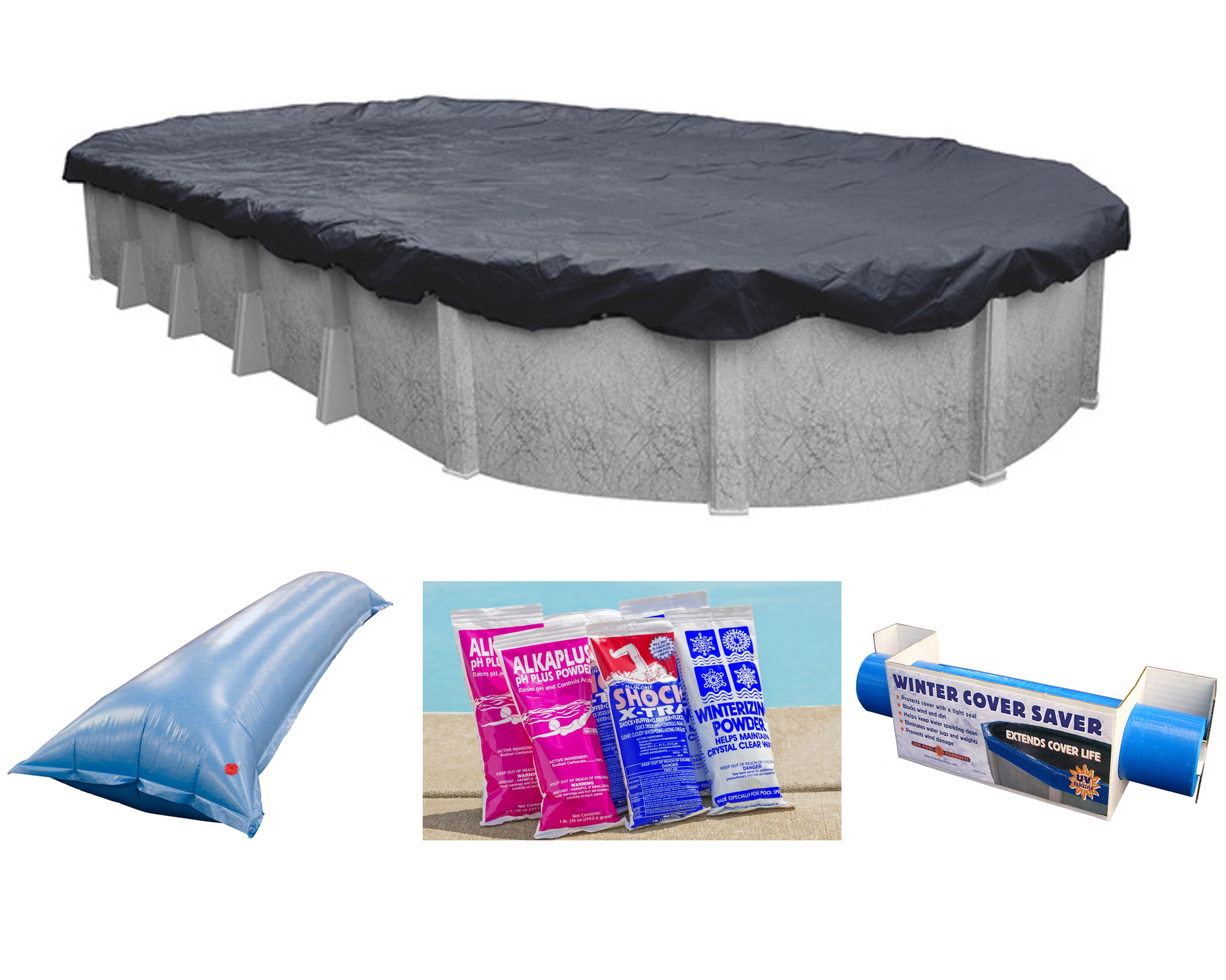 12 39 X18 39 Ft Oval Deluxe Above Ground Swimming Pool Winter Cover W Closing Package Ebay