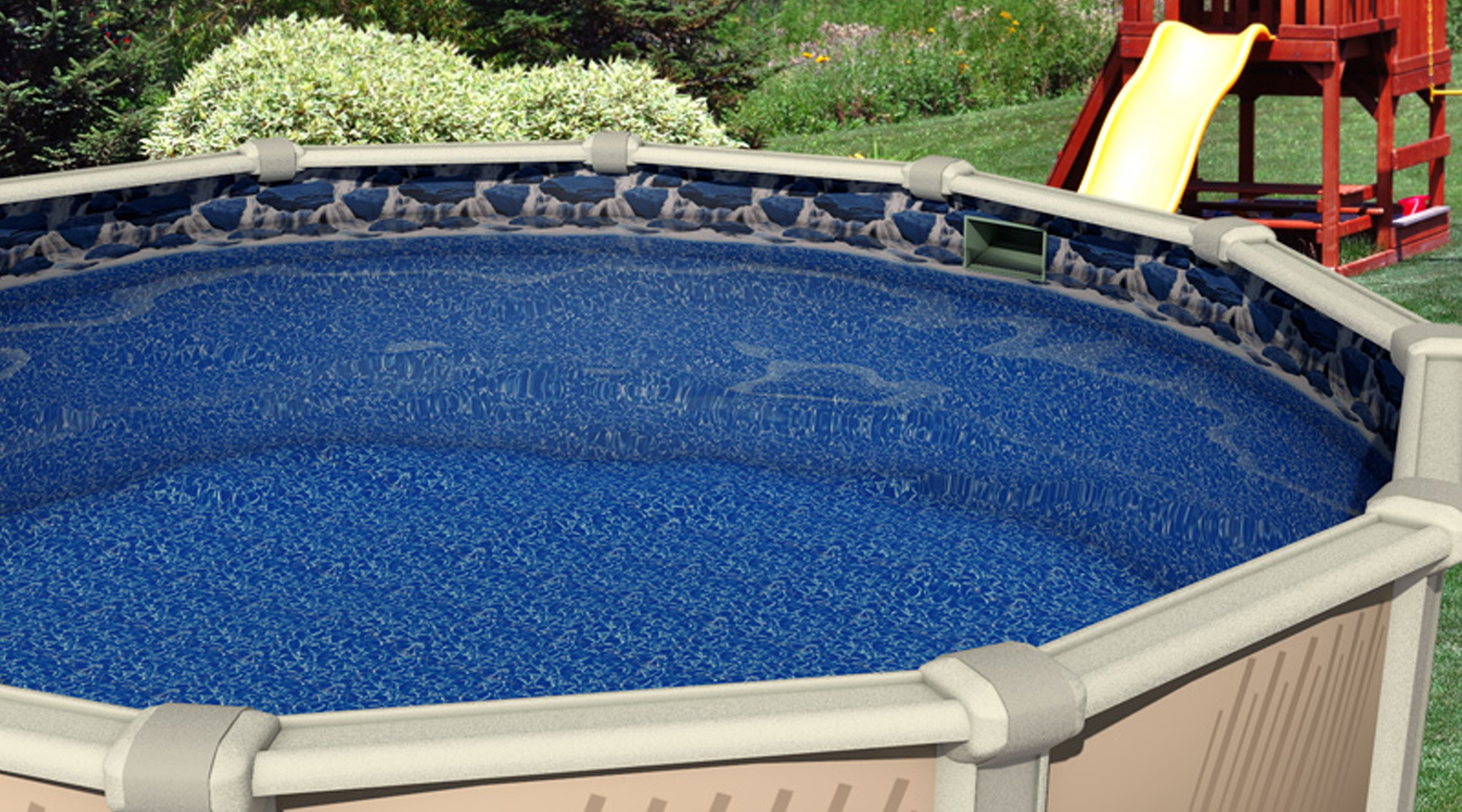 24 39 ft round overlap waterfall above ground swimming pool for Top of the line above ground pools