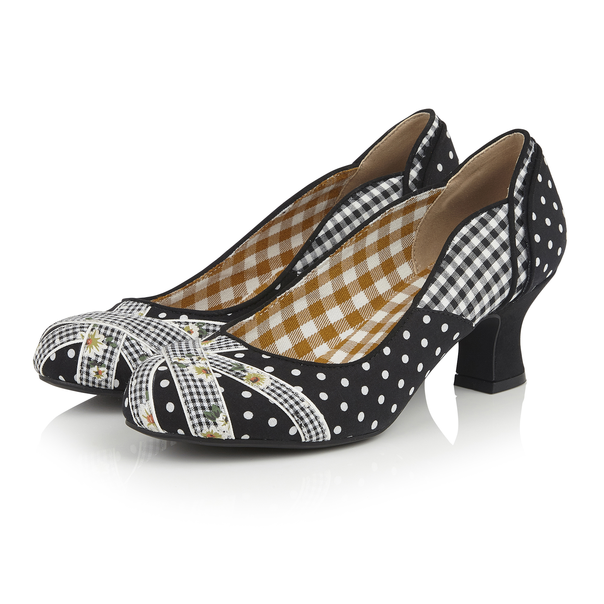 Ruby Shoo 1960s Flag Inspired Paula Mid Heel Court Shoe UK 2-9  Black Mint Pink