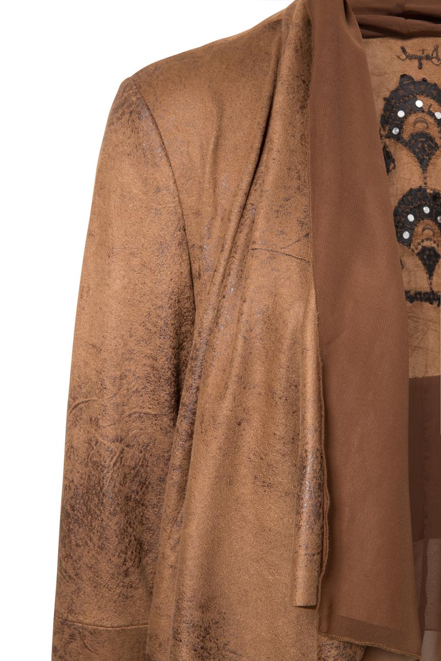 Desigual Lua Faux Leather Waterfall Jacket Tan Black 36-46 UK 8-18 RRP£139