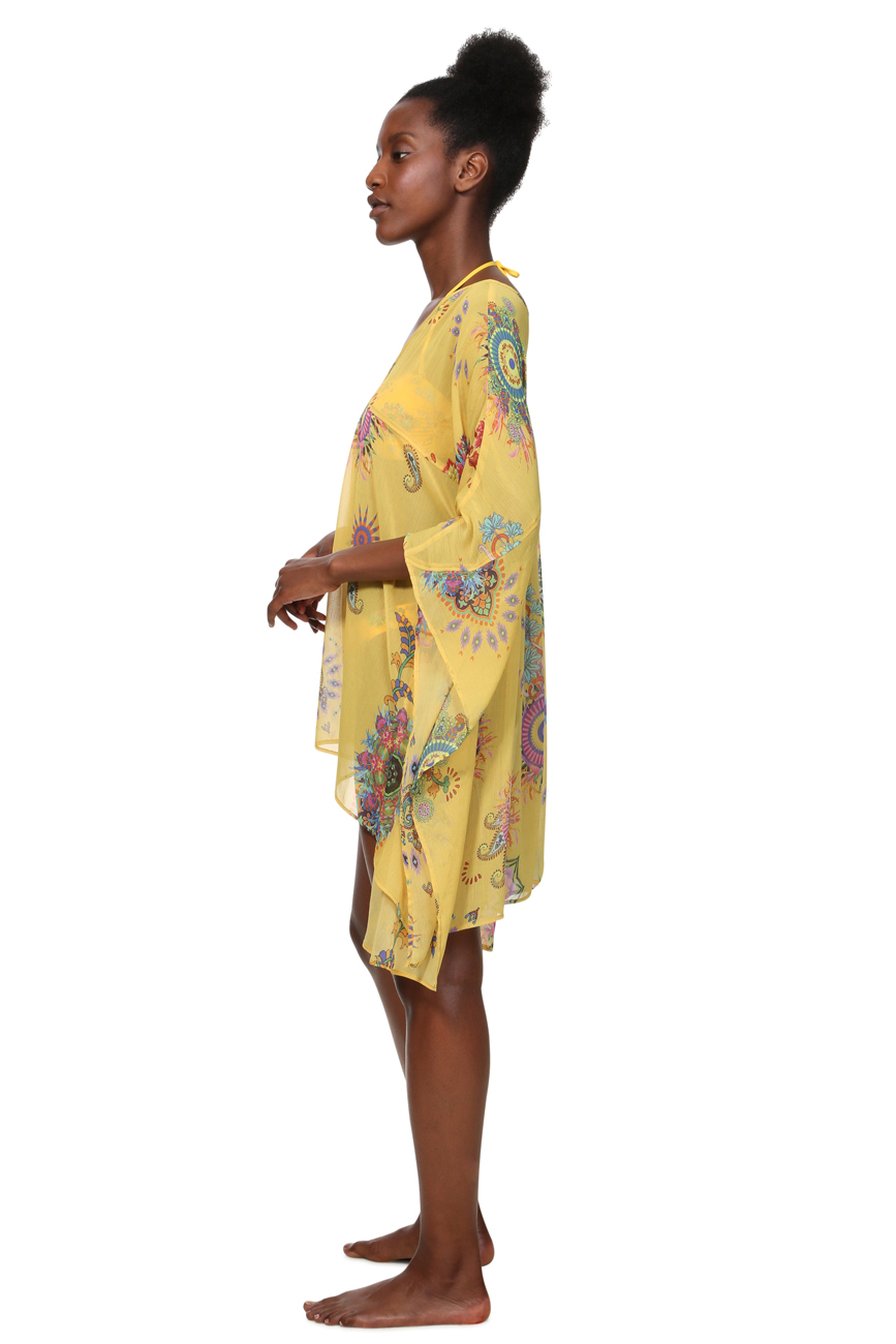 Desigual Giallo Nero Kenya Chiffon vivace stampa Mandala caftano S-XL 10-16 £ 54