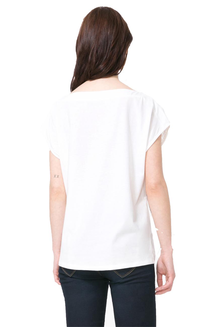 Desigual Crochet Mesh Panel Top White 2 Tshirt  XS-XXL UK 8-18 RRP�54 Coral