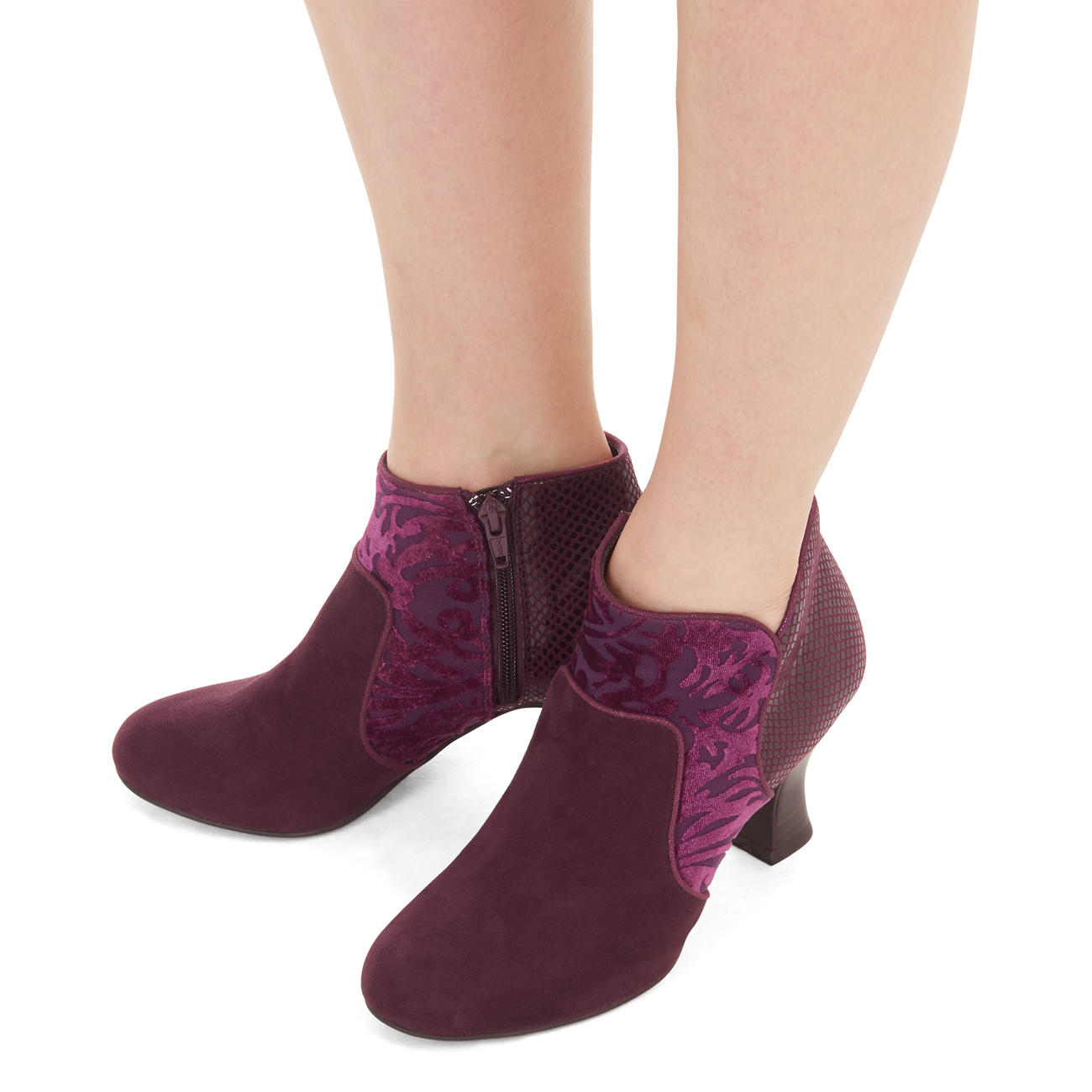 Ruby Shoo Kennedy Ankle Boots UK3-8 Burgundy Black Faux Suede /& Pattern Panel