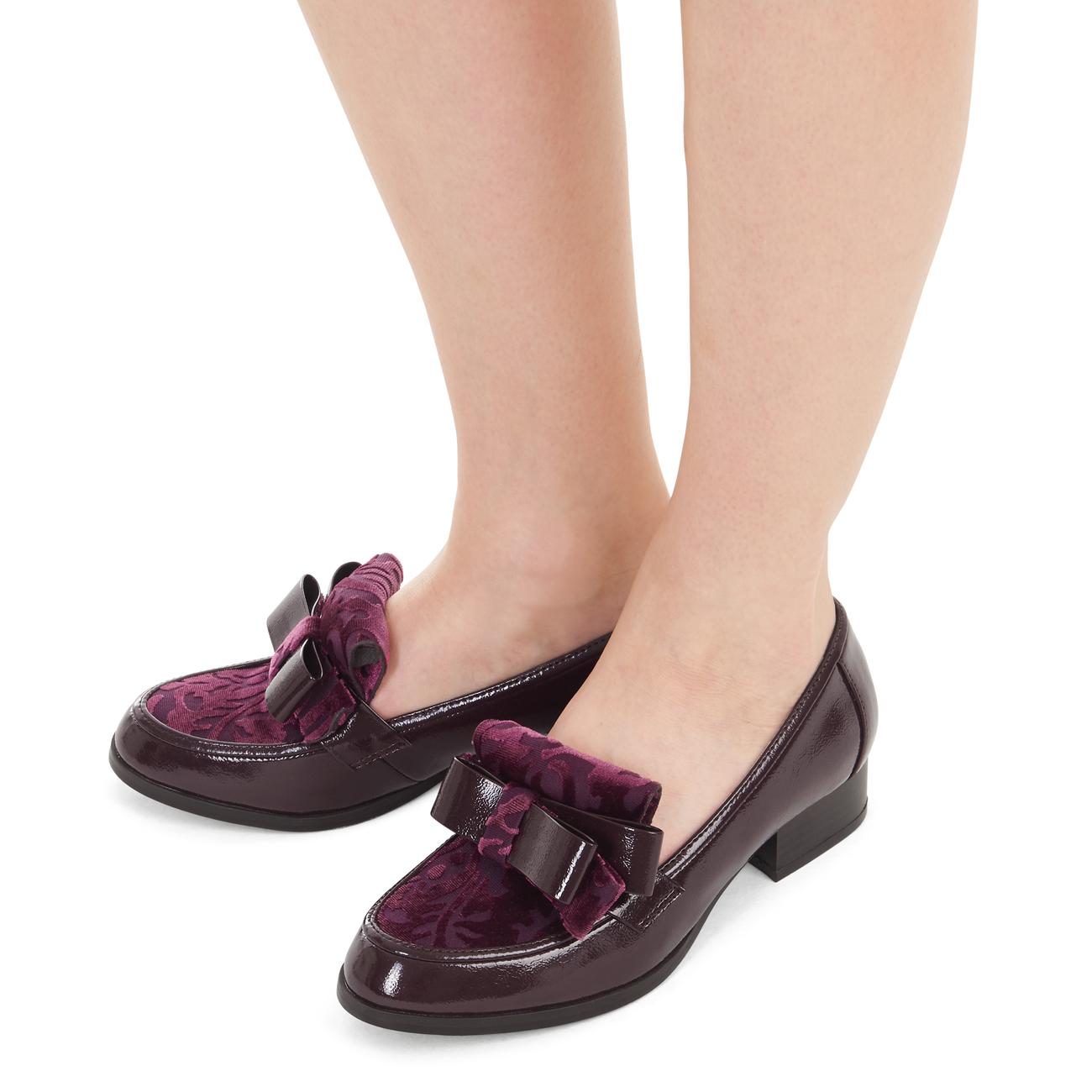 Ruby Shoo Gabriella Loafer /& Matching Panama Bag Black Burgundy UK3-9 EU36-42
