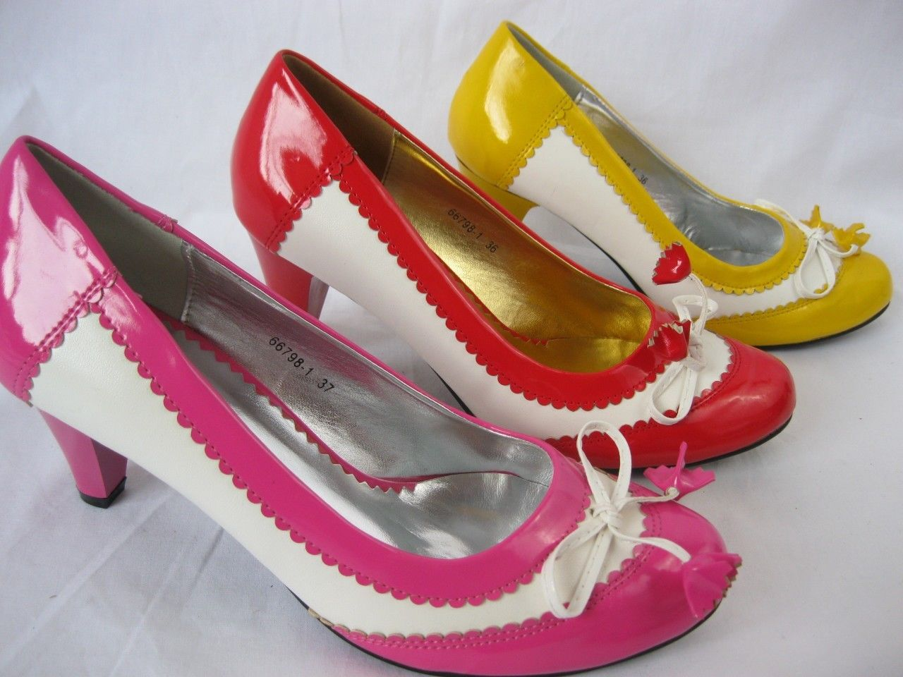 Yellow / Red / Pink Patent Bow Cute Shoe 3 4 5 6 7 8 Kitch Fun Tassle Design