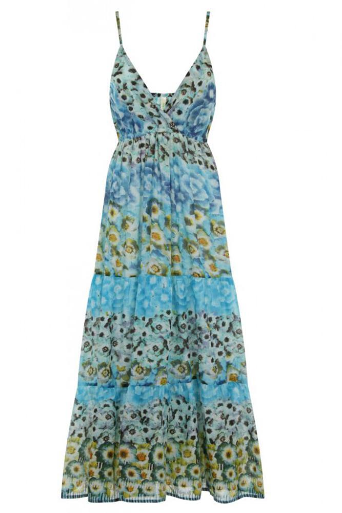 Pistachio Cotton Animal Print Pink Blue White Long Maxi Dress UK 8-22