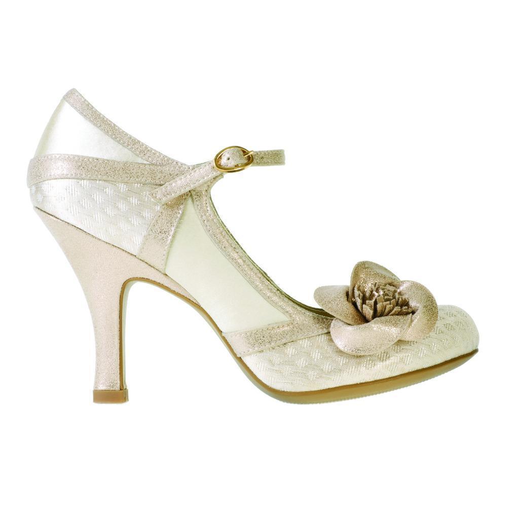 Ruby Shoo England Belle Shoe UK 3-9 36-42 Bridal Slver Bronze Cream Rose
