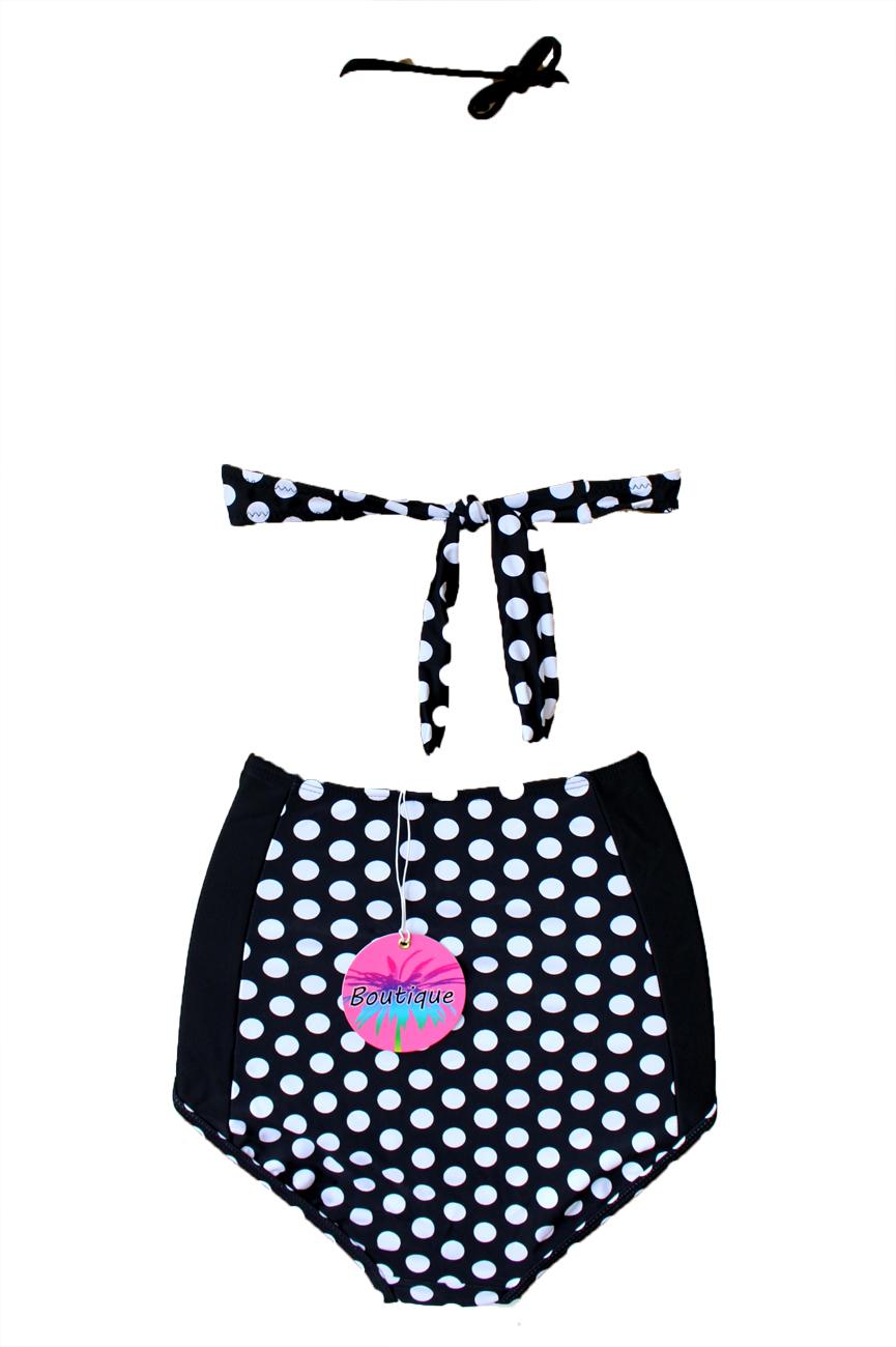 Taglia 8-16 Boutique a Pois Bikini A Fascia 1950 S Nero Bianco//Blu Vita Alta