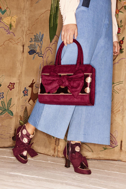 NEW Ruby Shoo Dakota Large Top Handle Bow Bag Navy Black Seren
