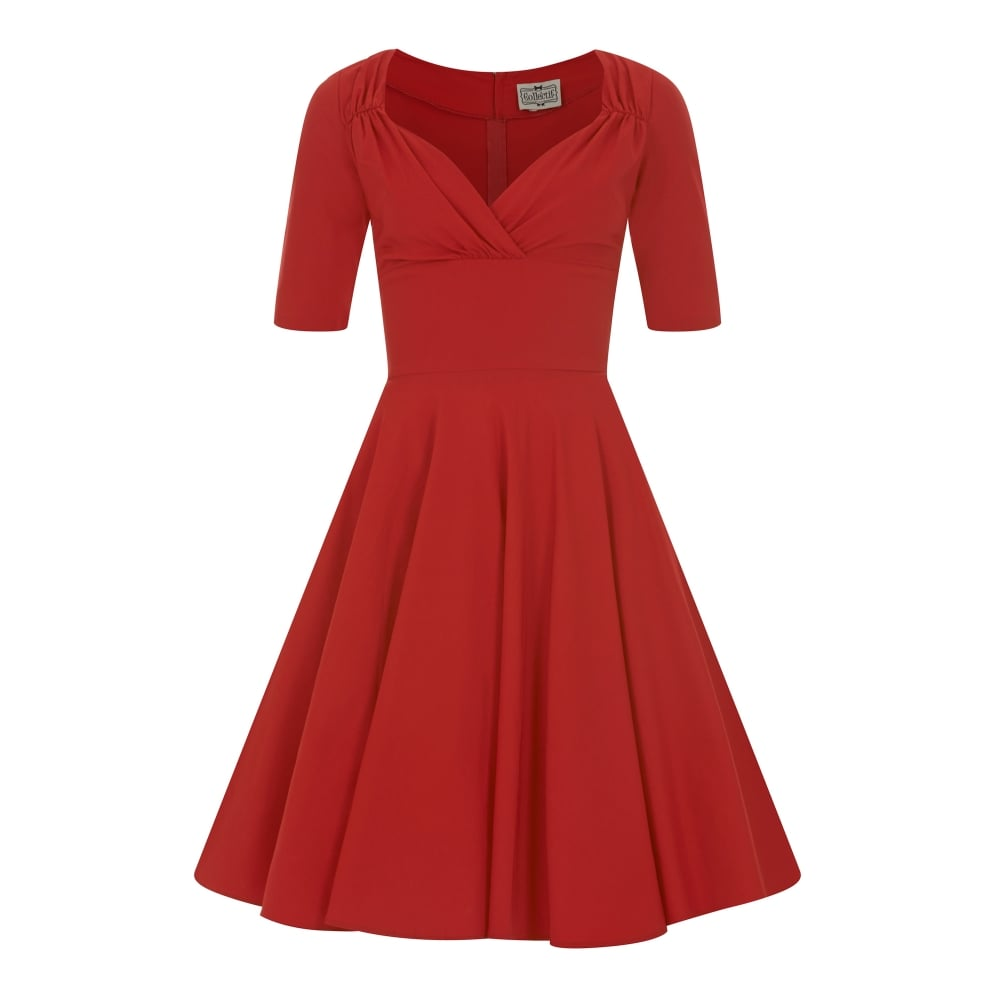 COLLECTIF VINTAGE TRIXIE DOLL DRESS SZ 8-22 WINE RED TEAL BLACK