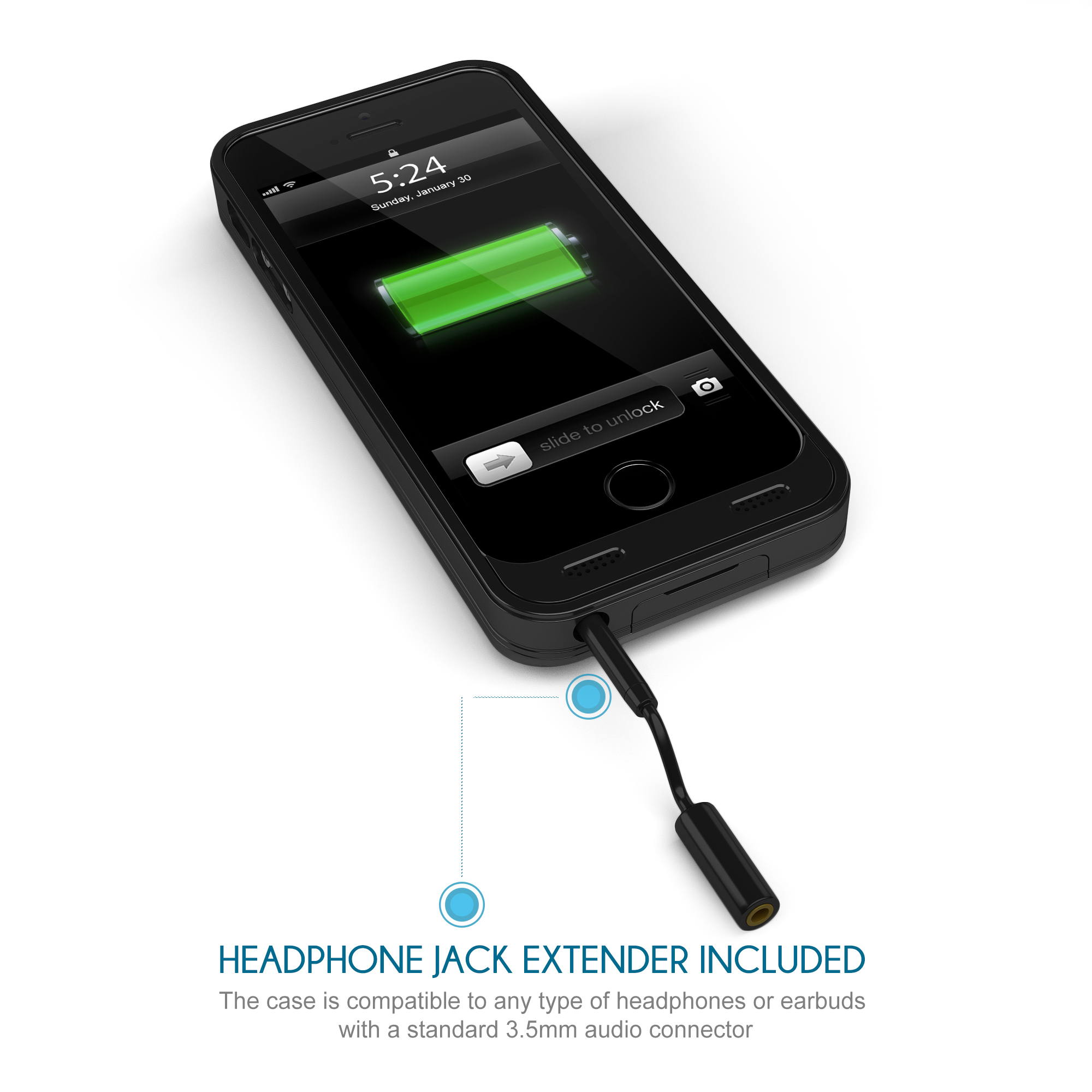 stalion stamina 2400mah extended rechargeable battery case for iphone 5 5s se ebay. Black Bedroom Furniture Sets. Home Design Ideas