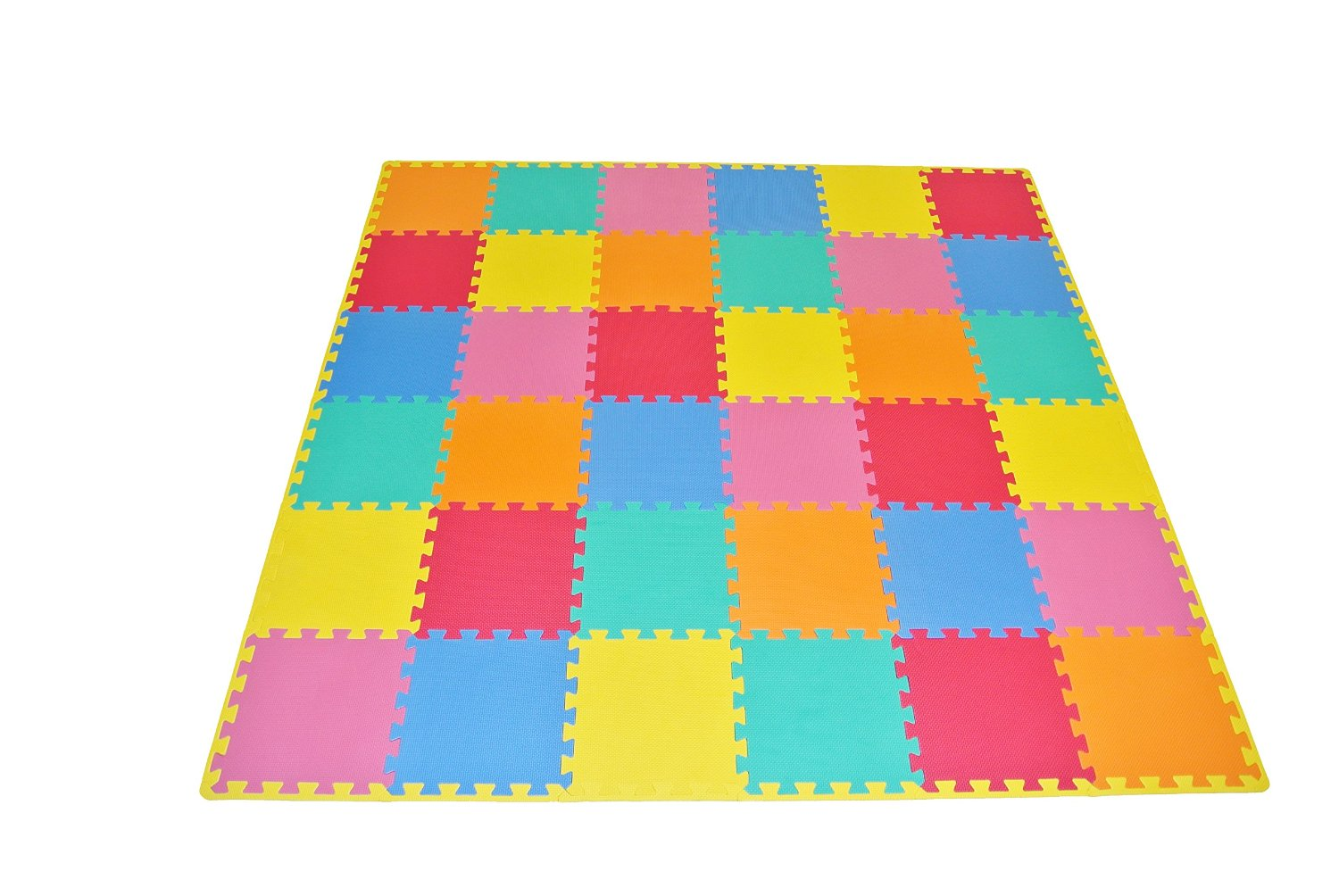 Prosource puzzle solid foam play floor mat kids toddler for Mats for kids room