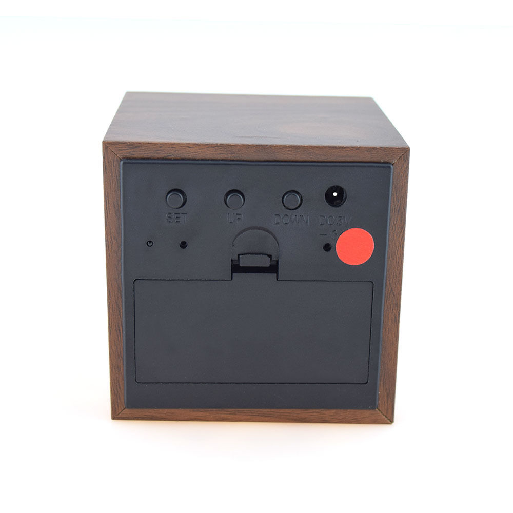 wooden usb retro cube temperature voice control alarm led. Black Bedroom Furniture Sets. Home Design Ideas