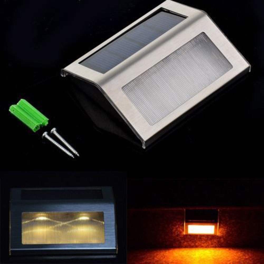 New LED Solar Power Path Stair Outdoor Light Garden Yard Wall Landscape Lamp