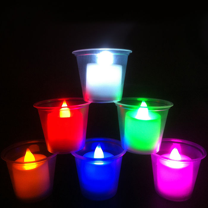 24pcs flameless battery operated led tea light candles colorful party. Black Bedroom Furniture Sets. Home Design Ideas