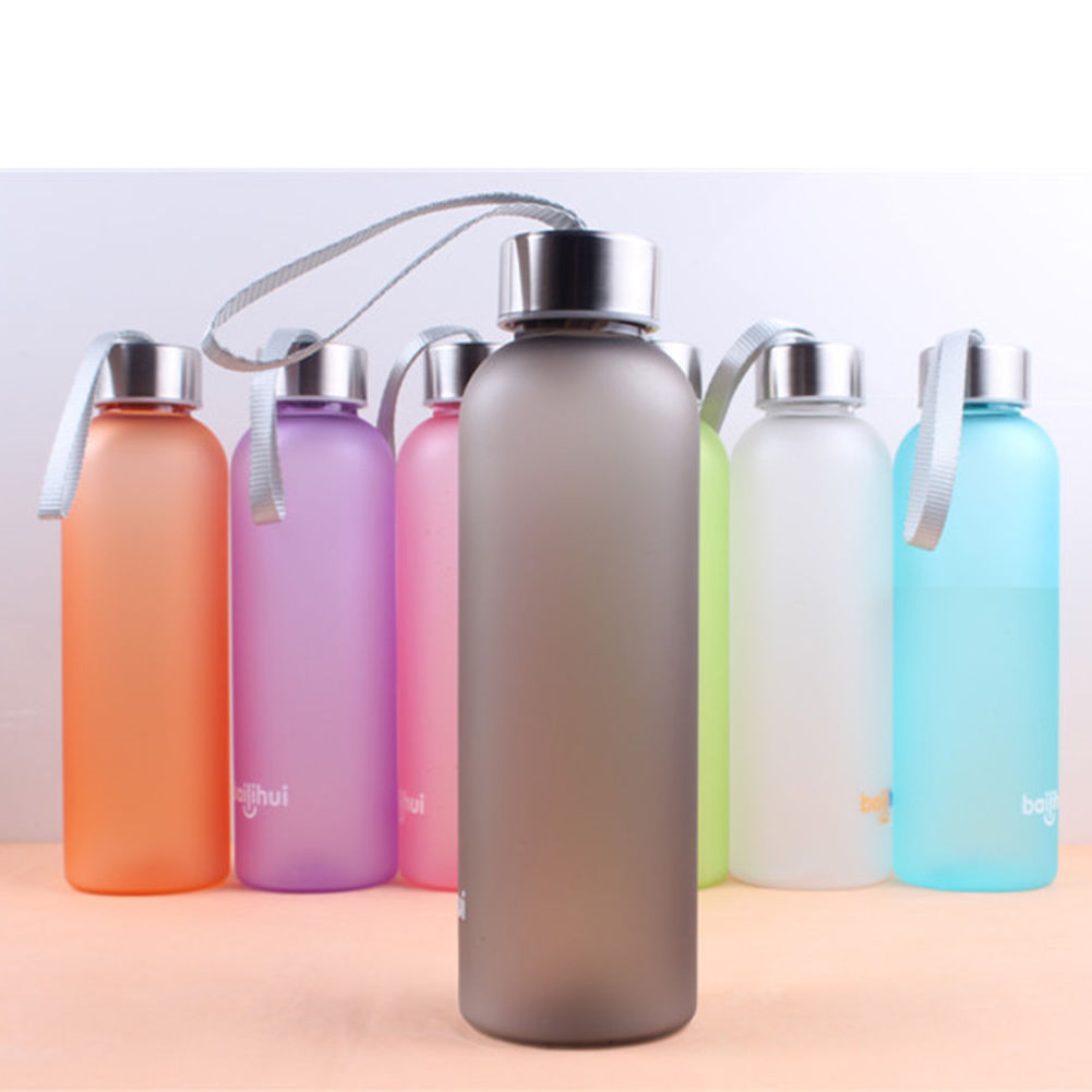 Portable Water Bottle : Sport travel portable camping cycling frosted colorful