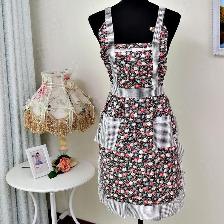 Women Home Kitchen Cooking Bib Flower Style Pocket Lace ...