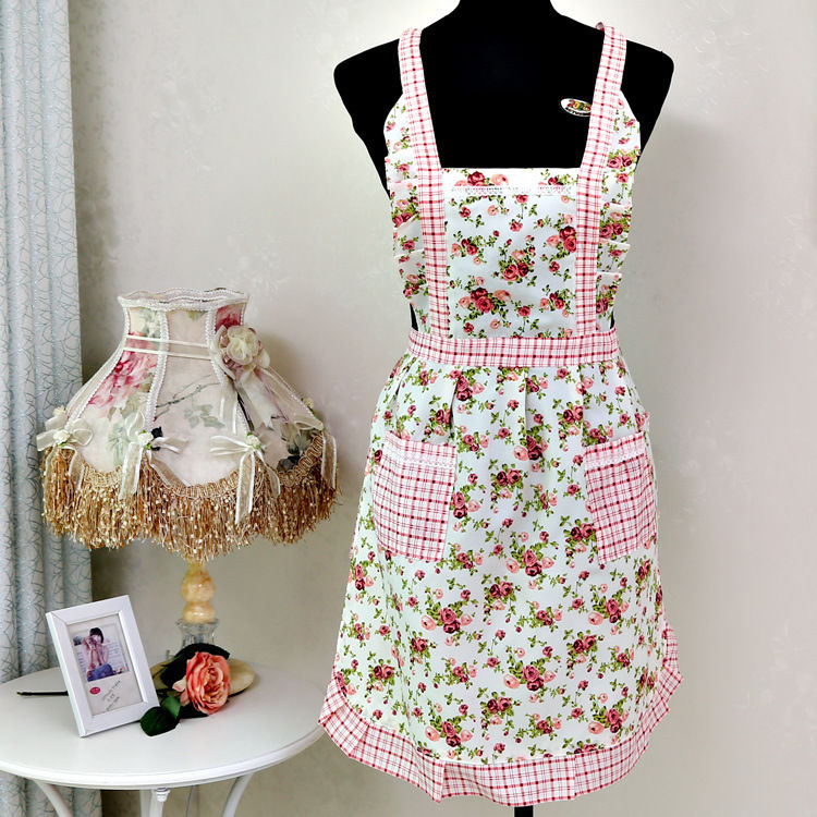 Women Home Kitchen Cooking Bib Flower Style Pocket Lace