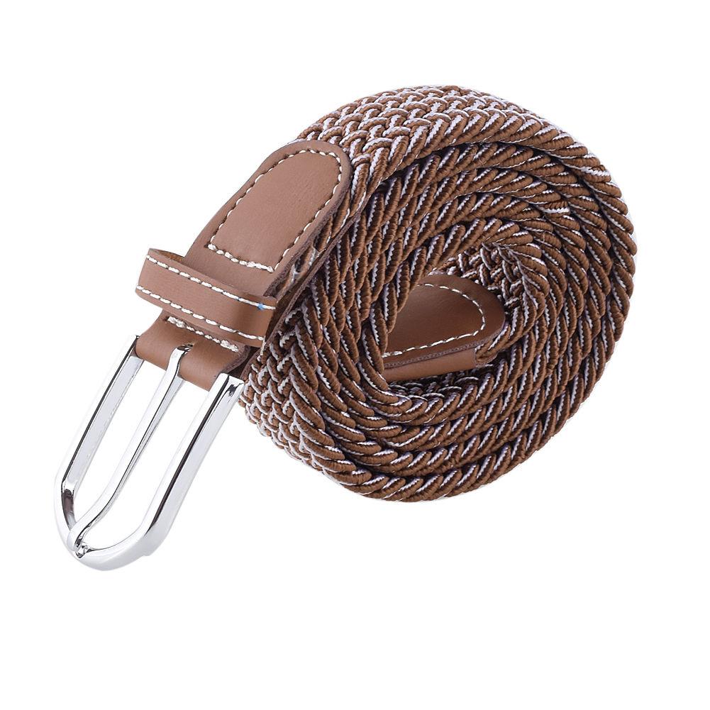 unisex mens canvas elastic woven leather pin buckle waist