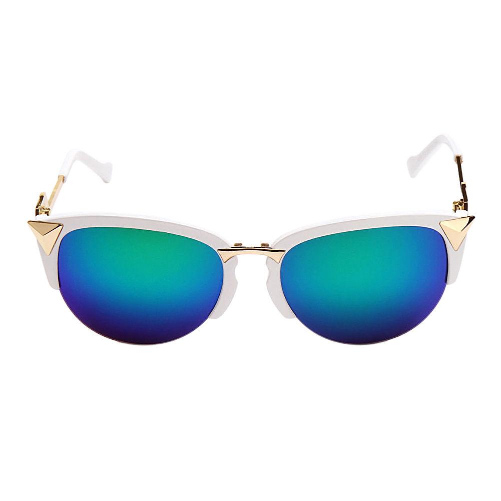 Womens Semi-Rimless Cat-eye Sunglasses Half Frame Metal ...