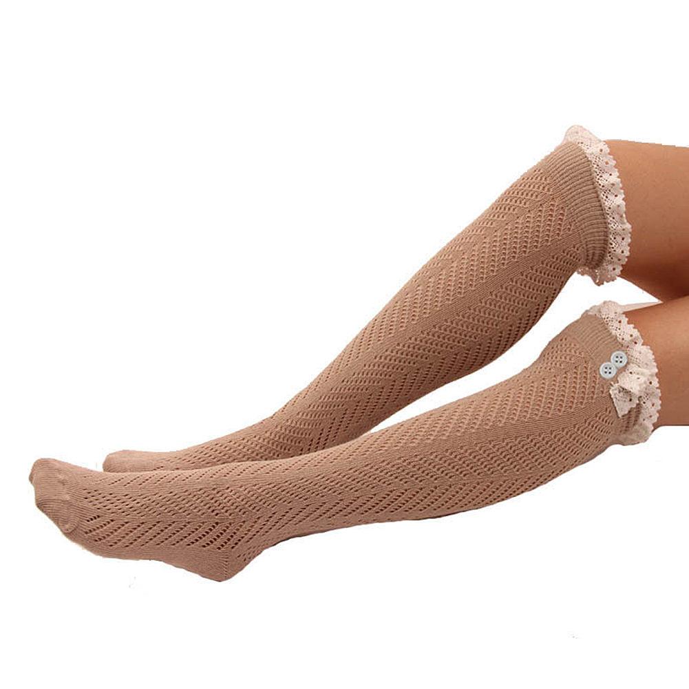 womens knitted knee high socks fancy button leg warmers