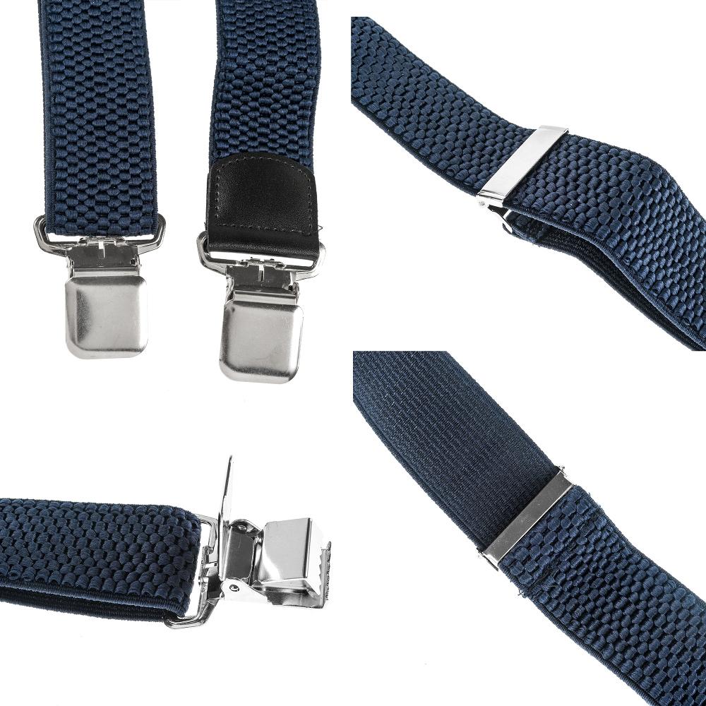 Mens braces wide adjustable+elastic suspenders Y-shape strong clips-Heavy duty