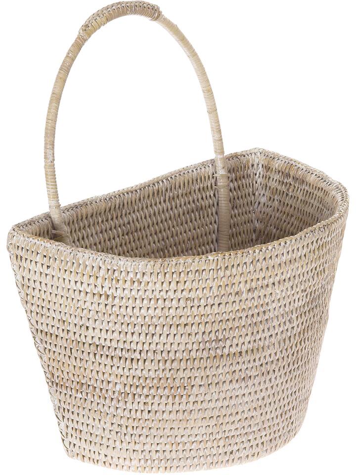 Kouboo La Jolla Handwoven Rattan Wall Basket, Large, 13 x 8 x 15.5 inch, White Wash
