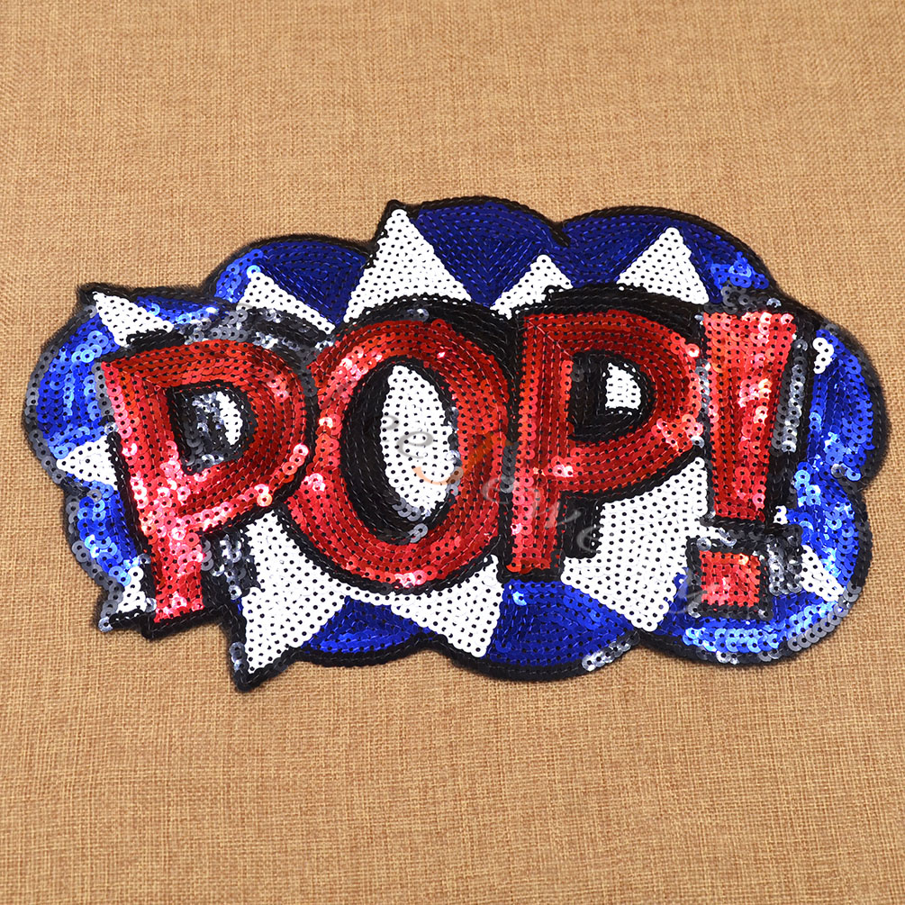 Fashion patch letter sequins embroidered iron or sew on for Diy iron on letters for clothing