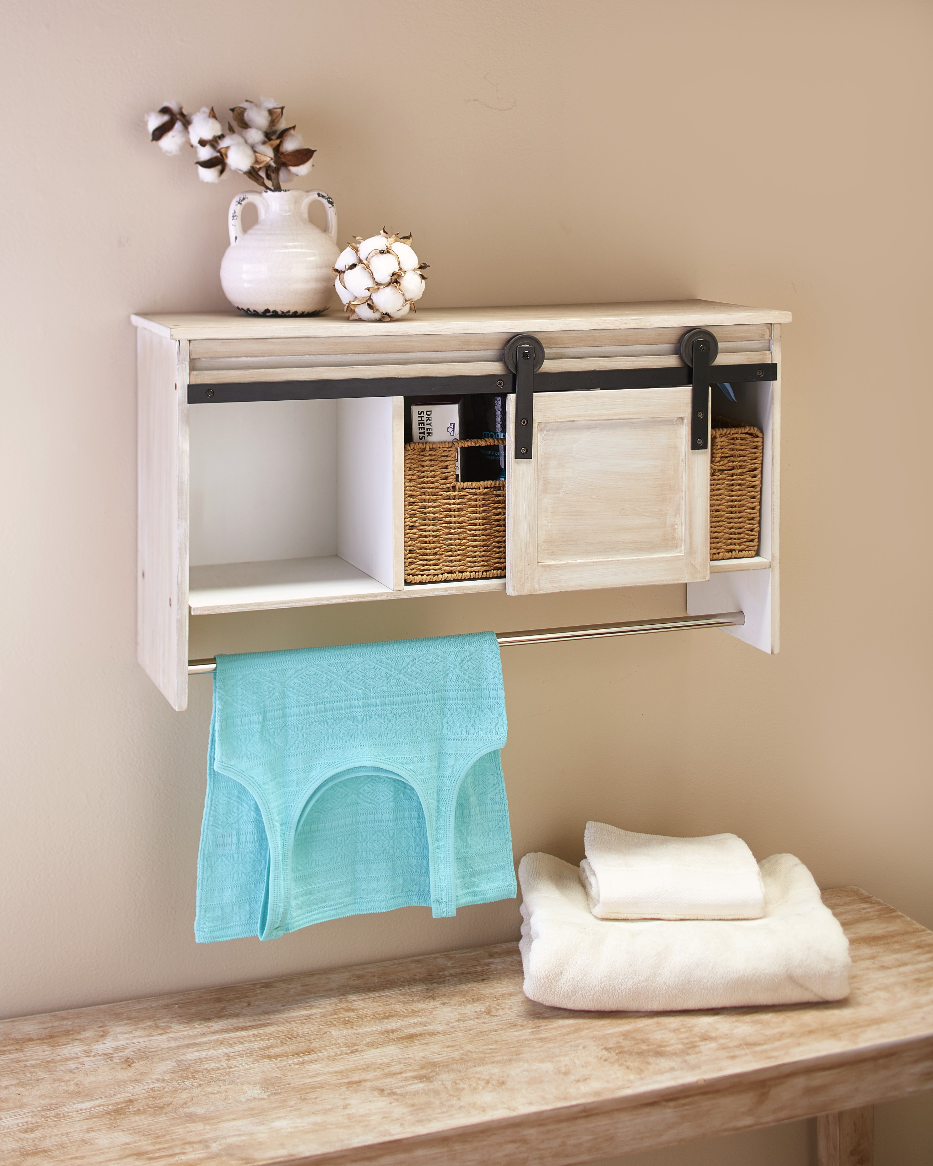 Barn Door Wall Cabinet with Towel Rods for Linens with Distressed Finish