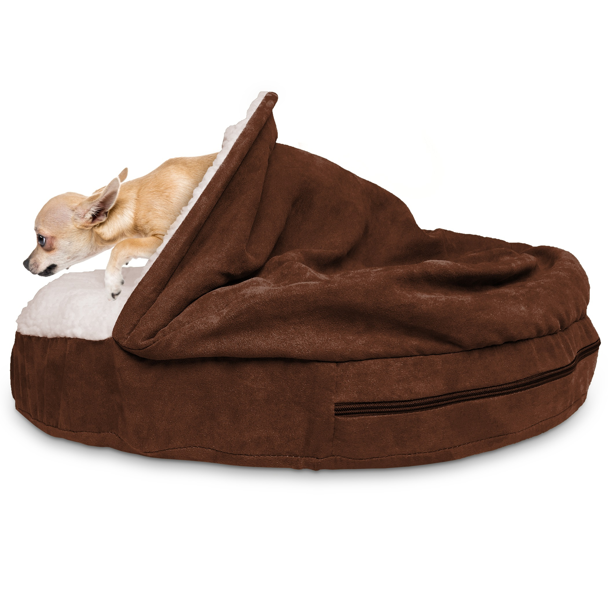 furhaven faux sheepskin snuggery orthopedic dog cave bed pet bed