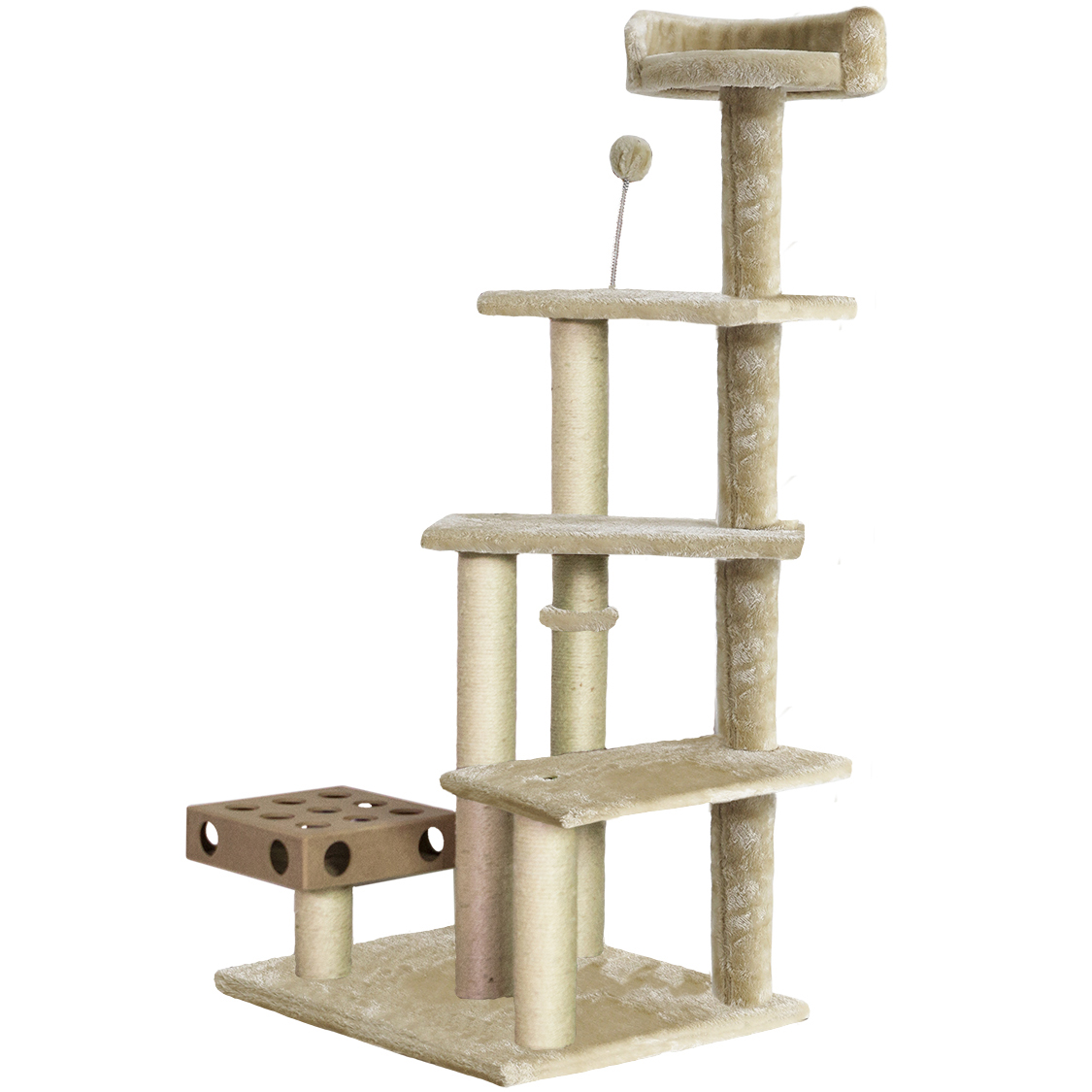 furhaven tiger tough cat tree scratcher play stairs with cat iq