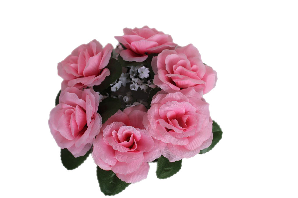 Floral candle rings silk wedding flower rose center table
