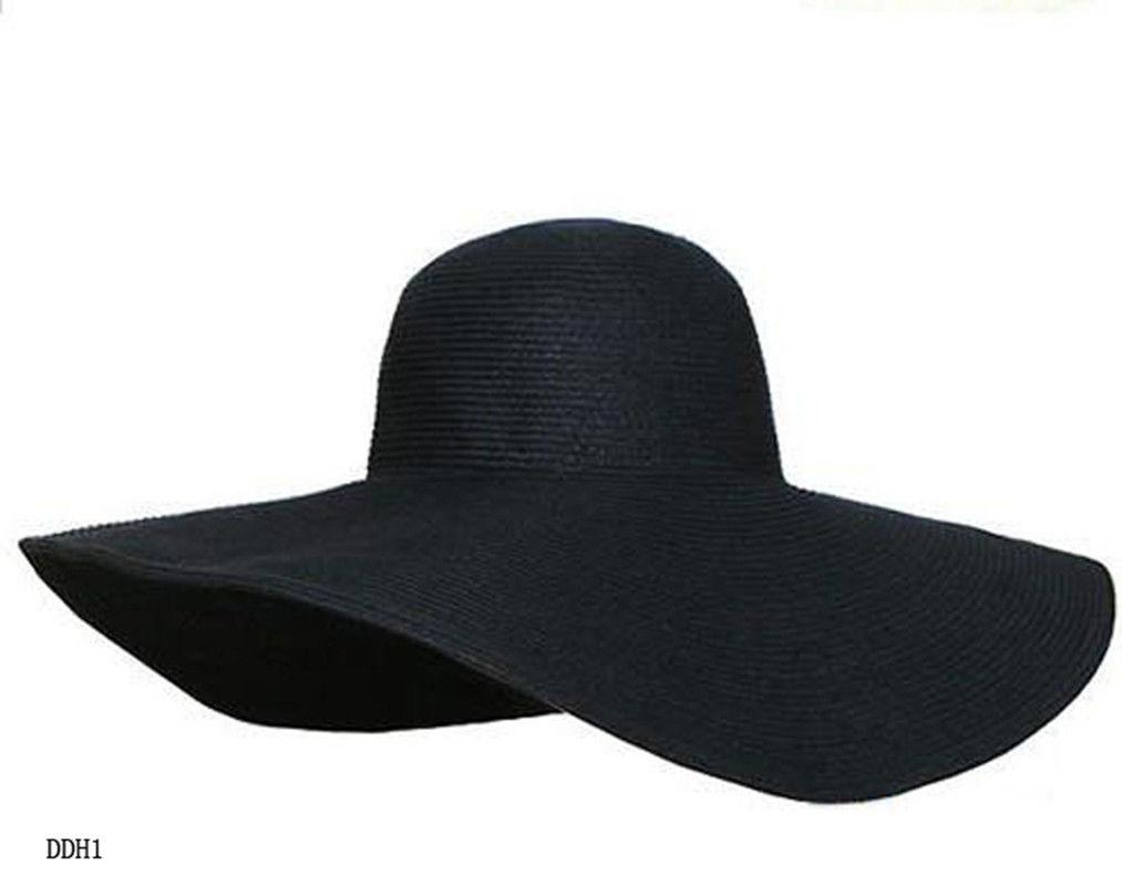 fashion womens wide large brim floppy summer sun hat