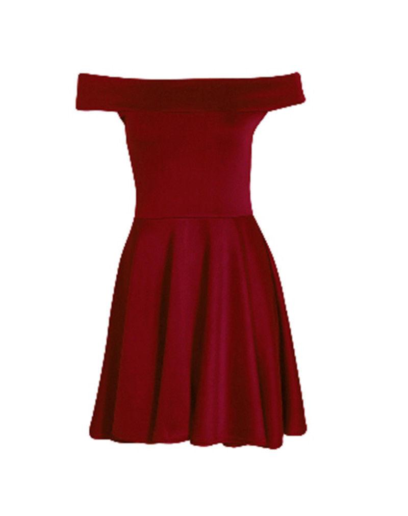 Sexy Womens Ladies Off-the-Shoulder Cotton Sleeveless Mini Short Skater Dress