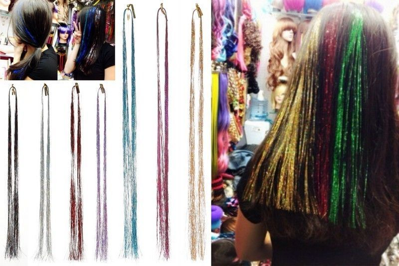 Tie In Hair Glitter Strands Shimmers Strips Tinsel