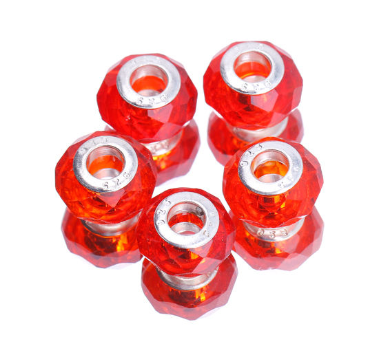 Bulk! European Lampwork Faceted Murano Glass Beads For Charm Bracelet DIY Craft