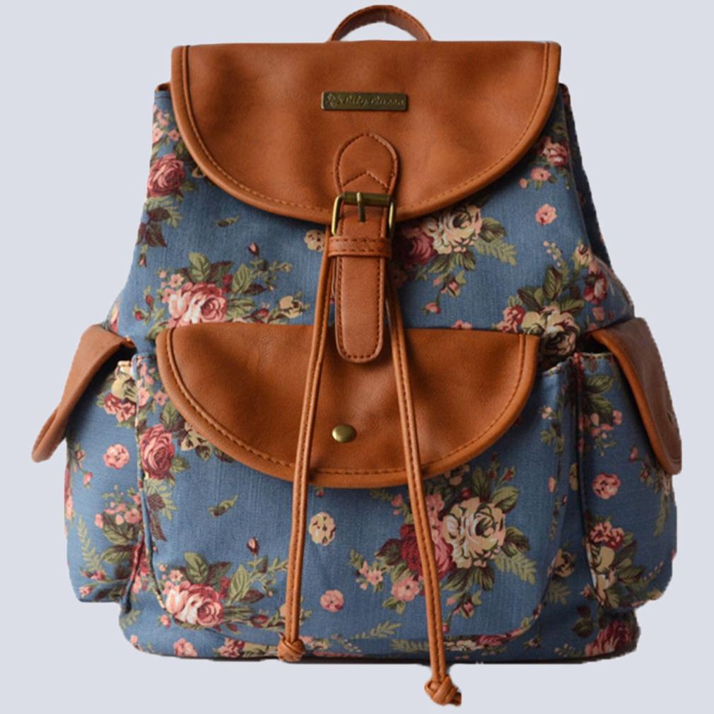 Vintage Ladies Canvas Large School Bag Womens Girls Backpack College Rucksack