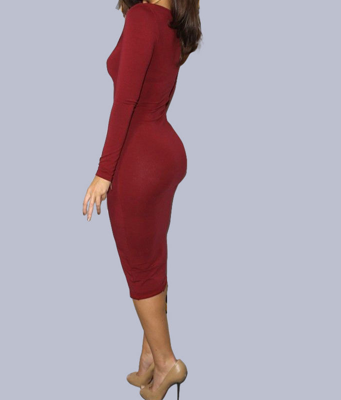 Women's Summer Long Sleeve Bodycon Pencil Cocktail Evening Party Dress Plus Size